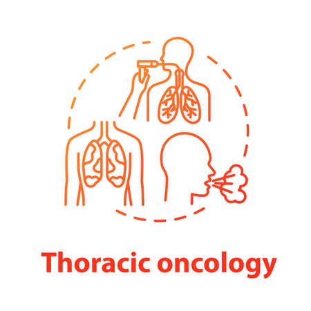 Thoracic oncology concept icon. Lung airways inflammatory disease. Asthma, tuberculosis. Pulmonology idea thin line illustration. Vector isolated outline RGB color drawing