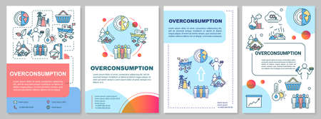 Overconsumption brochure template. Environmental damage. Flyer, booklet, leaflet print, cover design with linear icons. Vector layouts for magazines, annual reports, advertising posters