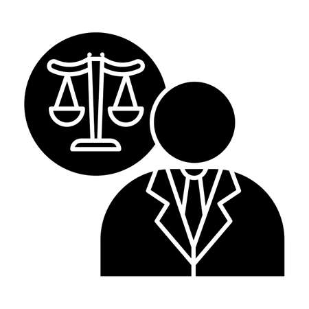 Lawyer black glyph icon. Attorney. Advocate. Legal representative. Courthouse. Legislature, law enforcement. Justice. Legal assistance. Silhouette symbol on white space. Vector isolated illustration