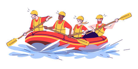 Whitewater rafting flat doodle illustration. People in raft. Water activity. Extreme sports. Active pastime in exotic country. Indonesia tourism 2D cartoon character with outline for commercial use