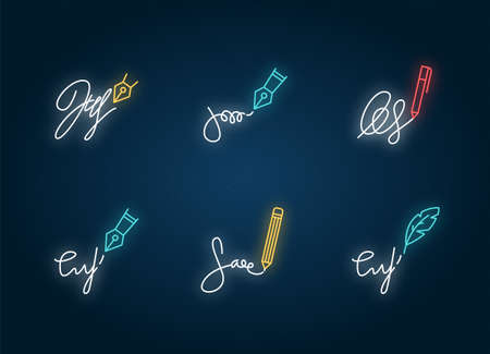 Signatures neon light icons set. Handwriting. Autograph. Proof of identity. Evidence of consent. Legal paper. Signs with outer glowing effect. Vector isolated RGB color illustrations Vektoros illusztráció