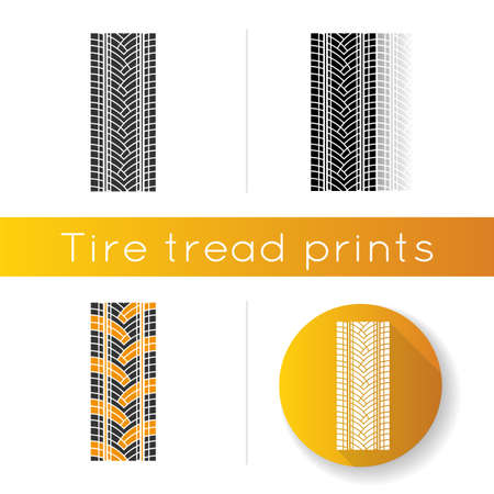 Track tread icon. Detailed automobile, motorcycle street tyre marks. Car summer wheel print. Vehicle tire trail. Linear black and RGB color styles. Isolated vector illustrations