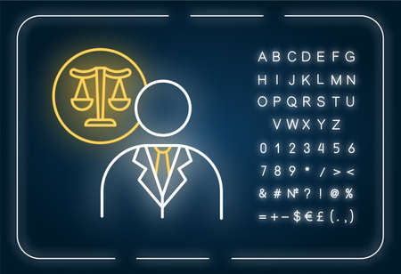 Lawyer neon light icon. Attorney. Advocate. Legal representative. Legislature, law enforcement. Outer glowing effect. Sign with alphabet, numbers and symbols. Vector isolated RGB color illustration