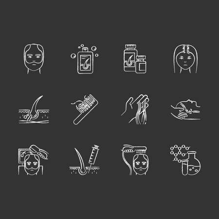 Hair loss chalk white icons set on black background. Hair roots. Alopecia treatment. Chemistry, medicine. Physiotherapy and injection for hair thinning. Isolated vector chalkboard illustrations Иллюстрация