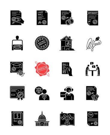 Notary services black glyph icons set on white space. Apostille and legalization. Stamps. Legal paper. Notarization. Legislature. Certificate. License. Silhouette symbols. Vector isolated illustration