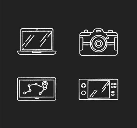 Mobile devices chalk white icons set on black background. Electronic gadgets. Navigation assistant, game console. Laptop, photo camera. Compact digital tools. Isolated vector chalkboard illustrations