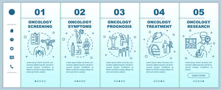 Oncology onboarding vector template. Illness research and treatment. Cancer symptoms and prognosis. Responsive mobile website with icons. Webpage walkthrough step screens. RGB color concept