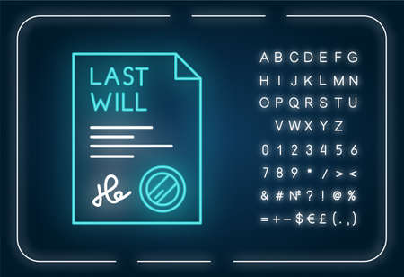 Signed last will neon light icon. Document with stamp. Notarized testament. Apostille. Outer glowing effect. Sign with alphabet, numbers and symbols. Vector isolated RGB color illustration Illustration