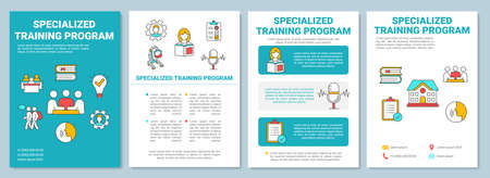 Specialized training program brochure template. Inclusive education. Flyer, booklet, leaflet print, cover design with linear icons. Vector layouts for magazines, annual reports, advertising posters