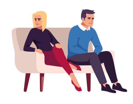 Couple on couch semi flat RGB color vector illustration. People on sofa. Marital conflict. Family quarrel. Unhappy spouses. Psychology consultation. Isolated cartoon character on white background