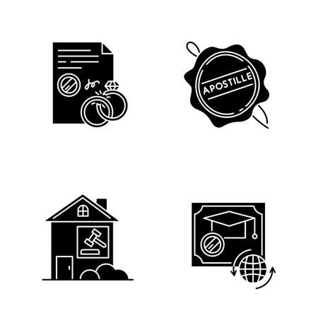 Notary services black glyph icons set on white space. Apostille and legalization. Divorce. Diploma. Real estate litigation. Lease dipute. Wax seal. Silhouette symbols. Vector isolated illustration