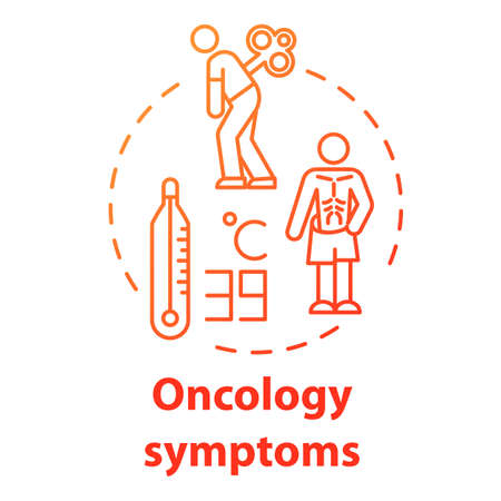 Oncology symptoms concept icon. Cancer syndrome. Fever, tiredness, weight loss. Human disease. Healthcare idea thin line illustration. Vector isolated outline RGB color drawing Ilustracja