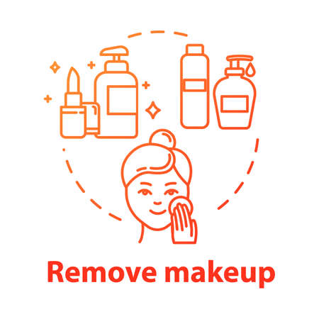 Remove makeup, face skin cleansing, hygiene concept icon. Skin washing and purification, skincare idea thin line illustration. Vector isolated outline RGB color drawing. Editable stroke