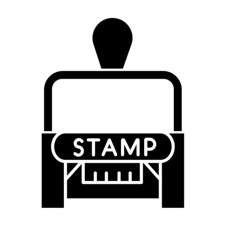 Stamp black glyph icon. Apostille and legalization. Notarization. Authentification. Validation, confirmation. Notary services. Silhouette symbol on white space. Vector isolated illustration Ilustrace