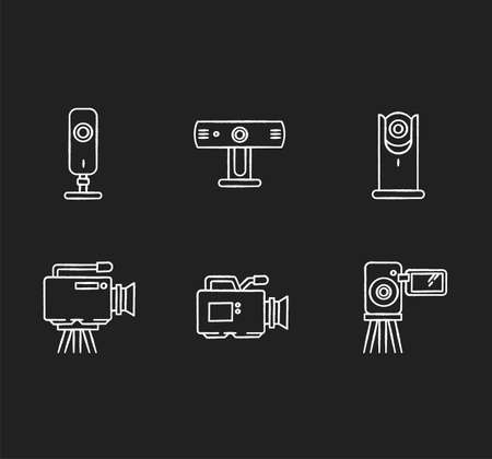 Webcams chalk white icons set on black background. Digital video cameras. Online chatting, conference. Surveillance. Portable recording gadgets. Mobile devices Isolated vector chalkboard illustrations