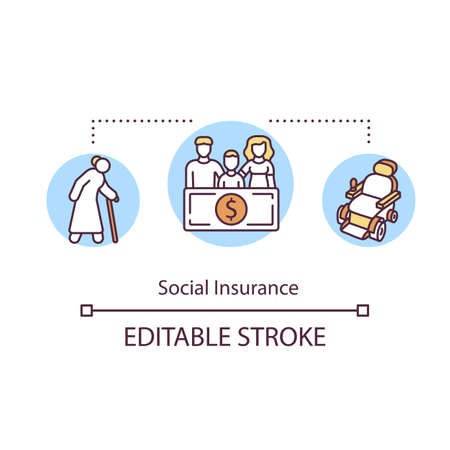 Social insurance concept icon. Retirement plan. Senior person. Disability risk. Children support. Family policy idea thin line illustration. Vector isolated outline RGB color drawing. Editable stroke Ilustrace