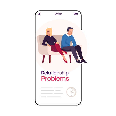 Relationship problems cartoon smartphone vector app screen. Psychology consultation. Psychotherapy. Mobile phone display with flat character design mockup. Application telephone cute interface Vektorové ilustrace