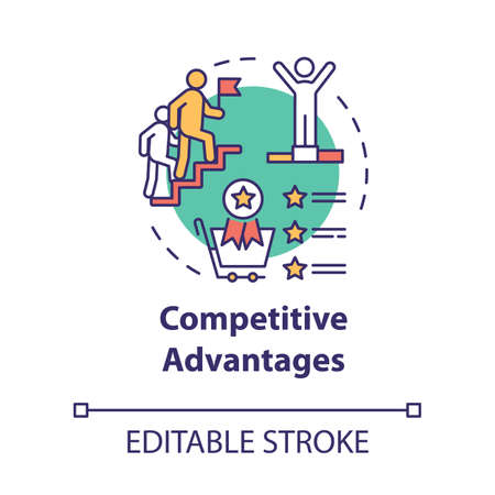 Competitive advantages concept icon. Boost forward. Corporate leadership. Ambition and success. Business strategy idea thin line illustration. Vector isolated outline RGB color drawing. Editable stroke Vektoros illusztráció