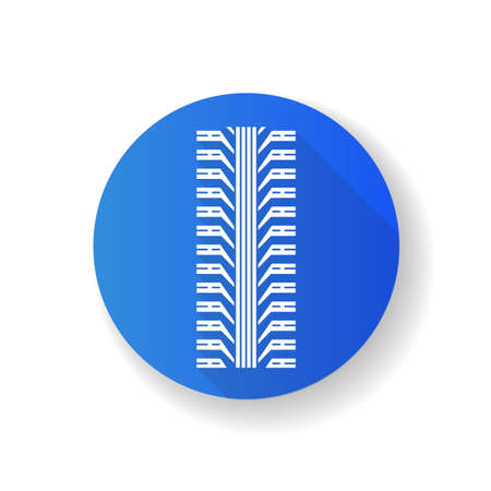 Tire tread blue flat design long shadow glyph icon. Detailed automobile, motorcycle tyre marks. Car wheel trace with thick grooves. Vehicle tire trail. Silhouette RGB color illustration