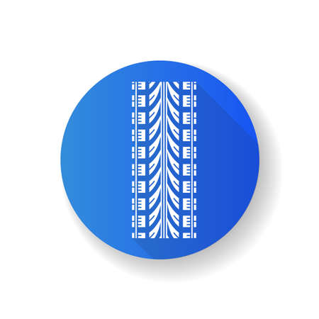 Wheel traces blue flat design long shadow glyph icon. Detailed automobile, motorcycle tyre marks. Car wheel print with thick grooves. Vehicle tire trail. Silhouette RGB color illustration
