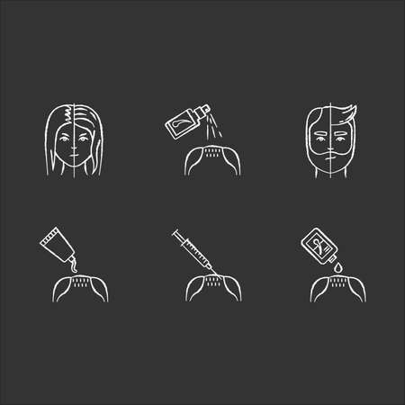 Hair loss chalk white icons set on black background. Male alopecia. Female balding. Haircare, dermatology. Products for hairloss. Injection for regrowth. Isolated vector chalkboard illustrations