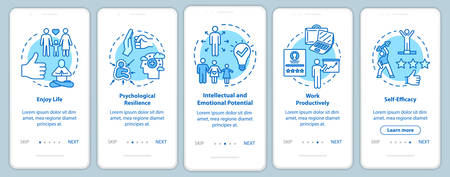 Mental health onboarding mobile app page screen with concepts. Work productively. Psychological wellness walkthrough five steps graphic instructions. UI vector template with RGB color illustrations Vetores