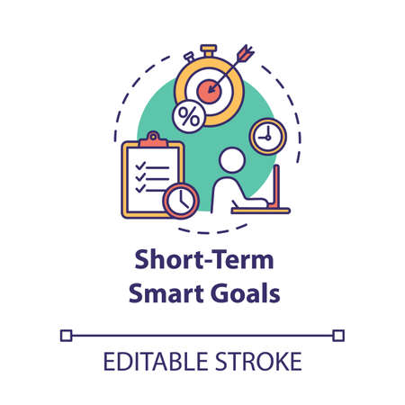 Short-term smart goals concept icon. Setting deadlines for projects. Building business. Planning idea thin line illustration. Vector isolated outline RGB color drawing. Editable stroke Vector Illustration