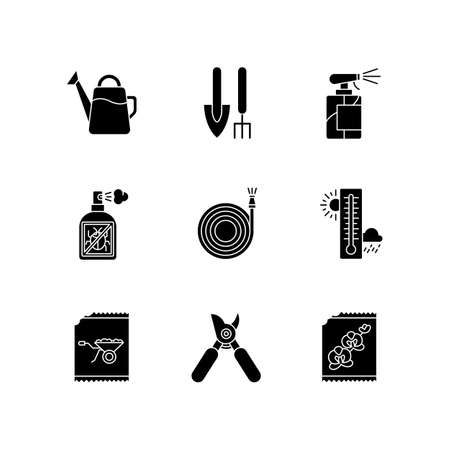 Indoor gardening tools and materials black glyph icons set on white space. Garden inventory. Houseplant caring equipment. Gardeners kit. Silhouette symbols. Vector isolated illustration  イラスト・ベクター素材