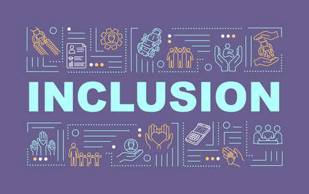 Inclusion word concepts banner. Aid for people with special needs. Equality. Infographics with linear icons on purple background. Isolated typography. Vector outline RGB color illustration