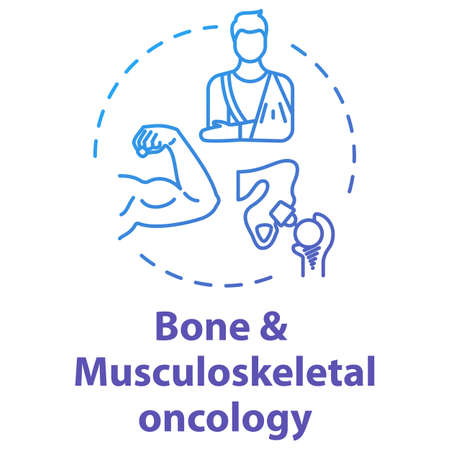 Bone and musculoskeletal oncology concept icon. Bone and muscle cancer treatment. Recovery from injuries idea thin line illustration. Vector isolated outline RGB color drawing