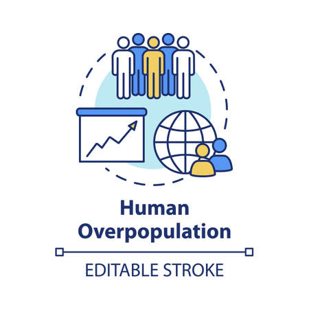 Human overpopulation concept icon. Birth rate increase. International population. Ecological footprint. Society idea thin line illustration. Vector isolated outline RGB color drawing. Editable stroke