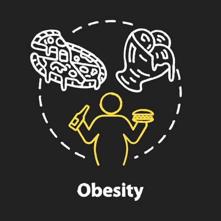 Obesity chalk RGB color concept icon. Unhealthy eating habits. Overweight person. Calories from fast food. Overconsumption idea. Vector isolated chalkboard illustration on black background