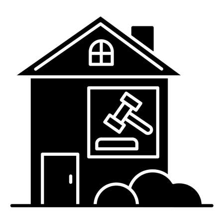 Real estate lawsuit black glyph icon. Tenancy legal dispute. Property litigation, court case. Realty trial. Lease agreement matter. Silhouette symbol on white space. Vector isolated illustration