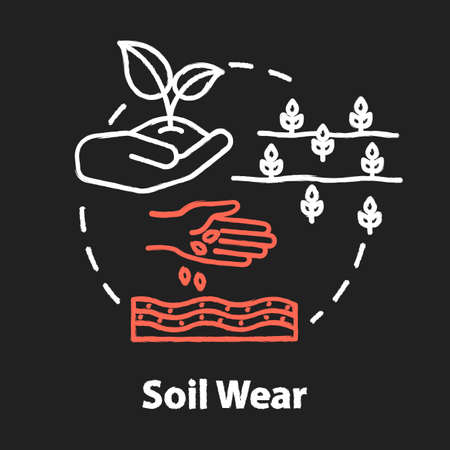 Soil wear chalk RGB color concept icon. Industrial damage to nature. Agriculture and agronomy. Cultivation, seedling. Farming idea. Vector isolated chalkboard illustration on black background