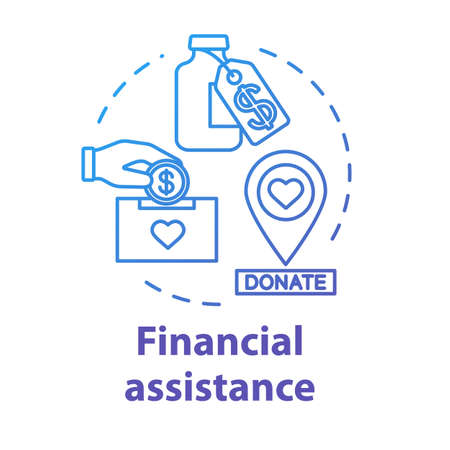 Financial assistance concept icon. Fundraising for treatment. Charity fee for medicines. Health donation idea thin line illustration. Vector isolated outline RGB color drawing