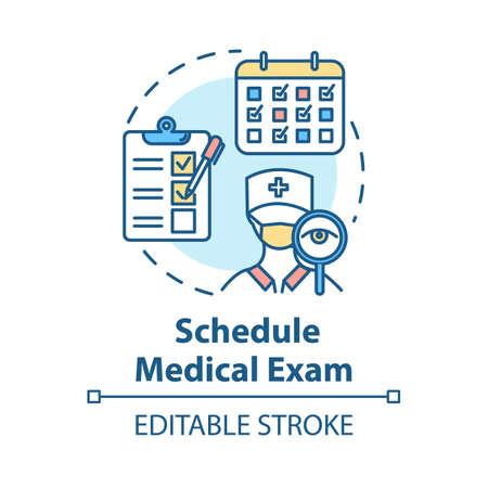 Pianifica l'icona del concetto di esame medico. Check-up clinico. Visita medica. Prova fisica. Illustrazione al tratto sottile idea di assicurazione sanitaria. Disegno a colori RGB contorno vettoriale isolato. Tratto modificabile