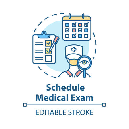 Schedule medical exam concept icon. Clinical checkup. Doctor visit. Physical test. Health insurance idea thin line illustration. Vector isolated outline RGB color drawing. Editable stroke