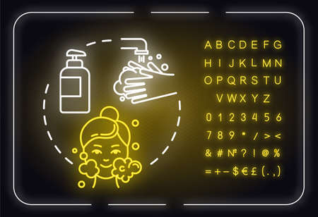 Cleansing, pore purification neon light concept icon. Face skin cleanser use, hygienic procedure idea. Outer glowing sign with alphabet, numbers and symbols. Vector isolated RGB color illustration