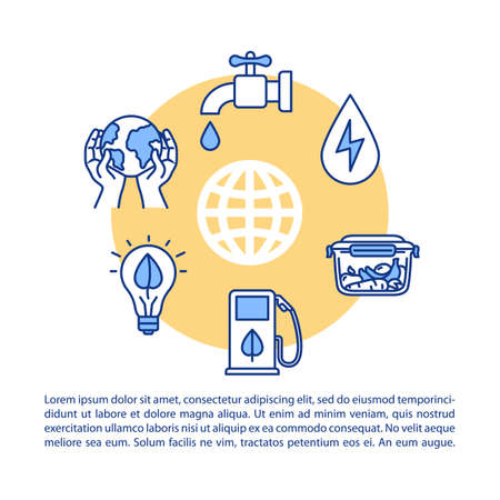 Responsible consumption concept icon with text. Saving water and global resources. Smart energy usage. PPT page vector template. Brochure, magazine, booklet design element with linear illustrations