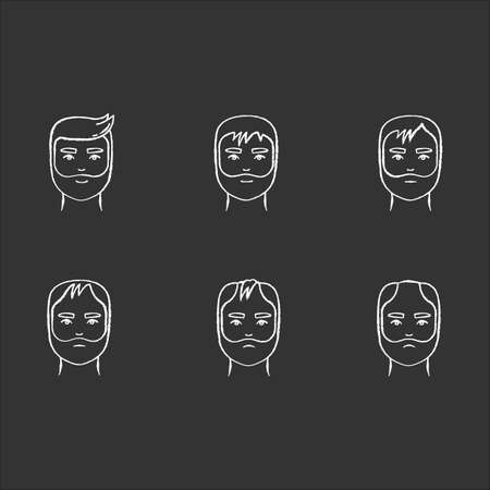 Hair loss chalk white icons set on black background. Baldness process stages. Male alopecia conditions. Dermatology problem with scalp. Aging and stress. Isolated vector chalkboard illustrations