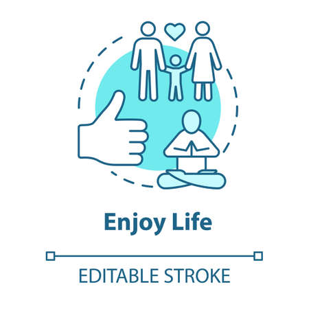 Enjoy life concept icon. Stay in good condition. Happy being. Ability to love and relax. Live full life idea thin line illustration. Vector isolated outline RGB color drawing. Editable stroke