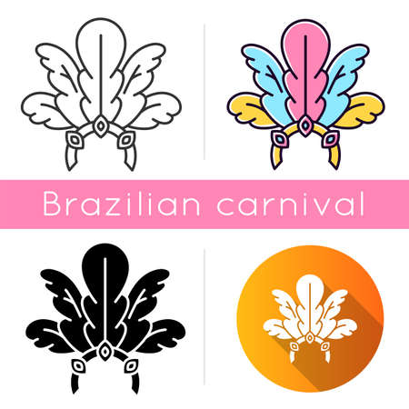 Brazilian carnival headwear icons set. Linear, black and RGB color styles. Crown with plumage and jewels. Ethnic festival. National holiday. Masquerade parade. Isolated vector illustrations