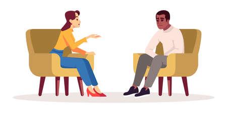 Therapiesitzung halbflache RGB-Farbvektorillustration. Interview. Treffen. Sprechendes Paar. Leute, die sich in gemütlichen Sesseln unterhalten. Psychologische Beratung. Isolierte Zeichentrickfigur auf Weiß