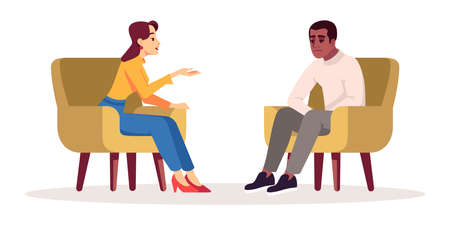 Therapy session semi flat RGB color vector illustration. Interview. Meeting. Talking couple. People having conversation in cozy armchairs. Psychology consultation. Isolated cartoon character on white