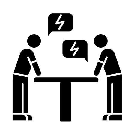 Icona del glifo nero di negoziazione. Dialogo tra le parti. Discussione. Interessi contrapposti. Conflitto. Controversia. Causa. Rivali, avversari. Simbolo di sagoma su uno spazio bianco. Illustrazione vettoriale isolato
