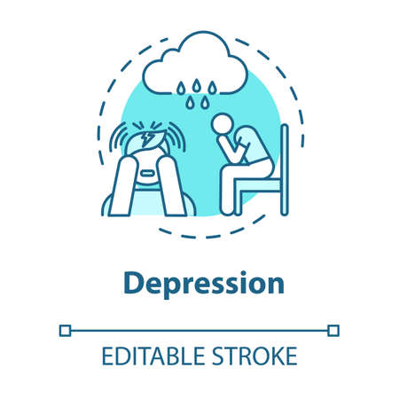 Depression concept icon. Loneliness. Sadness. Major depressive disorder. Mental illness. Psychology, psychiatry idea thin line illustration. Vector isolated outline RGB color drawing. Editable stroke