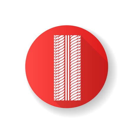 Tire print red flat design long shadow glyph icon. Detailed automobile, motorcycle tyre marks. Symmetric car wheel trace with thick grooves. Vehicle tire trail. Silhouette RGB color illustration Vecteurs