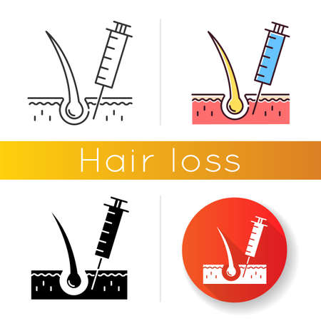 Hairloss injection icon. Professional alopecia treatment. Medical therapy for baldness. Haircare and dermatology. Vaccine in syringe. Linear black and RGB color styles. Isolated vector illustrations