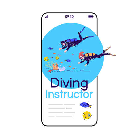 Diving instructor cartoon smartphone vector app screen. Indonesia tourism. Reef fish observation. Mobile phone display with flat character design mockup. Application telephone cute interface Vettoriali
