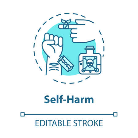 Self harm concept icon. Masochism. Self-injury and substance abuse. Personality disorder. Mental illness idea thin line illustration. Vector isolated outline RGB color drawing. Editable stroke Иллюстрация